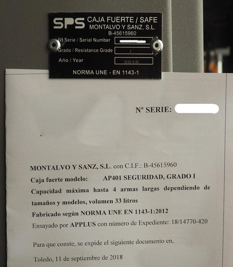 certificado de homologacion del armero SPS