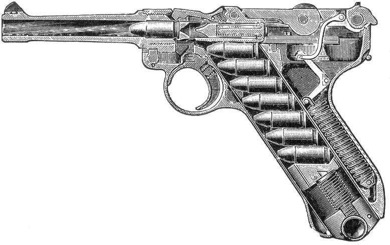 Pistola Luger con todo tipo de detalles